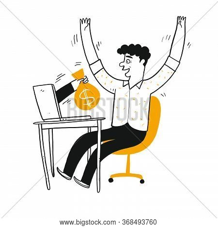Young Man Be Happy Looking The Poking Hand From Laptop Along With Money Bag, Vector Illustration Han