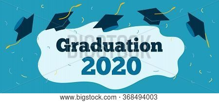 Graduation 2020 Caps Confetti. Flying Students Hats With Golden Ribbons Isolated. University, Colleg
