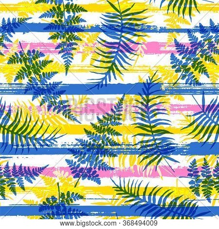 Elegant New Zealand Fern Frond And Bracken Grass Over Painted Stripes Seamless Pattern Design. Hawai