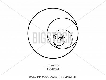 Fibonacci Sequence Circle. Golden Ratio. Geometric Shapes Spiral. Circles In Golden Proportion. Futu