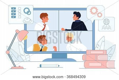 Online Video Call Conference, Business Meeting, Webinar. People Colleagues On Computer Digital Scree
