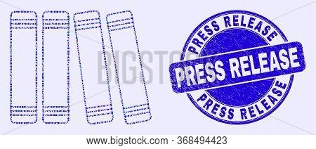 Geometric Books Mosaic Icon And Press Release Seal Stamp. Blue Vector Round Textured Seal With Press