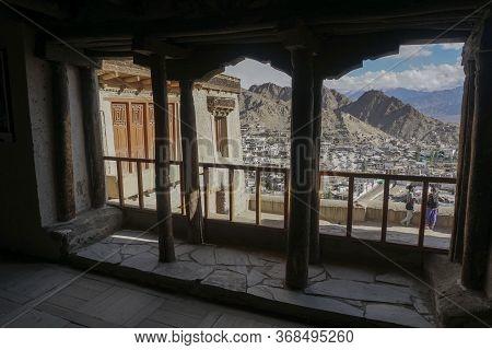 Leh City View From Leh Palace Window, Leh Ladakh, Jammu & Kashmir State, India - September 2018