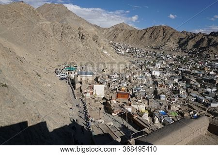 Leh City View From Leh Palace With A Blue Skyline, Capital Of Ladakh In Jammu & Kashmir State, North