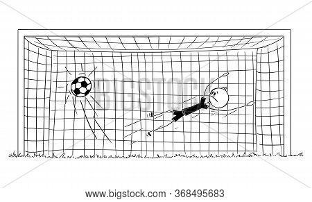 Vector Cartoon Stick Figure Drawing Conceptual Illustration Of Unsuccessful Football Or Soccer Goalk
