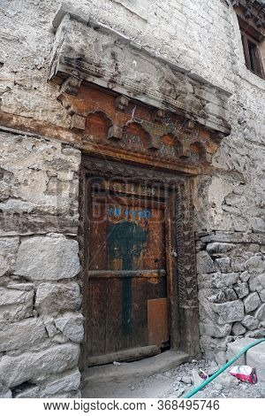 Ruins Of Leh Palace Door Being Polluted With Plastic Chips Packet, Leh Ladakh City, Jammu & Kashmir