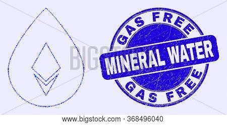 Geometric Crystal Drop Mosaic Icon And Gas Free Mineral Water Seal. Blue Vector Round Textured Seal