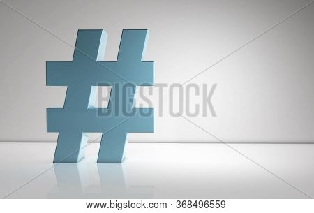 Hashtag Sign With Volume On White Background. 3d Illustration