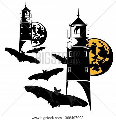 Haunted Lighthouse And Flying Flock Of Vampire Bats On Halloween Night Vector Design Set