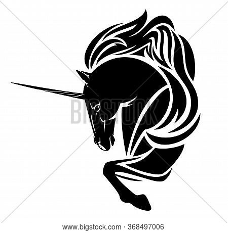 Mythical Unicorn Horse With Long Horn And Beautiful Mane Black And White Profile Head Vector Outline