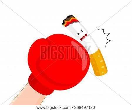 Boxing Gloves Or Mitt Punch A Cigarette. Quitting Smoking Concept.  World No Tobacco Day.  Vector Il