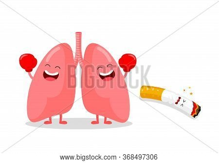 Cute Cartoon Lung Punch Cigarette. Quitting Smoking Concept.  World No Tobacco Day.  Vector Illustra