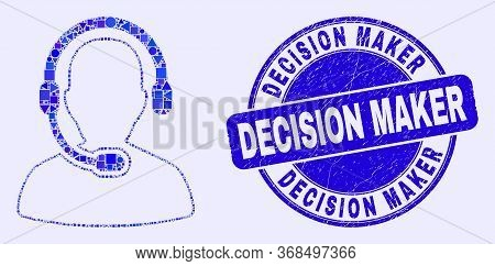 Geometric Radio Operator Mosaic Pictogram And Decision Maker Seal Stamp. Blue Vector Rounded Distres