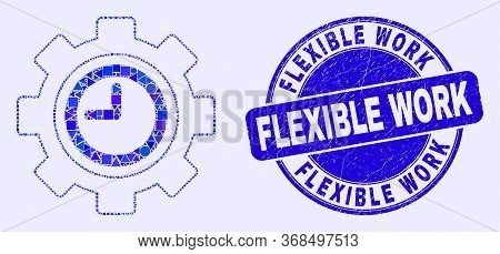 Geometric Clock Settings Gear Mosaic Pictogram And Flexible Work Seal Stamp. Blue Vector Round Textu