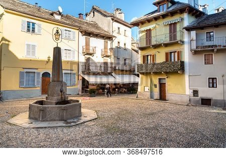 Street In The Historic Center Of Domodossola, Verbano Cusio Ossola, Piedmont, Italy