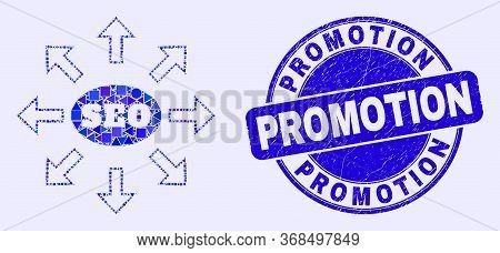 Geometric Seo Distribution Arrows Mosaic Pictogram And Promotion Stamp. Blue Vector Round Distress S