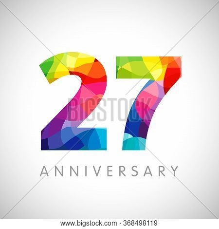 27 Th Anniversary Numbers. 27 Years Old Logotype. Bright Congrats. Isolated Abstract Graphic Design