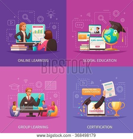 Online Global Education Distant Learning Certificate Programs Concept 4 Colorful Cartoon Outlined Ba