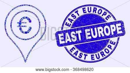 Geometric Euro Map Marker Mosaic Pictogram And East Europe Watermark. Blue Vector Rounded Distress W