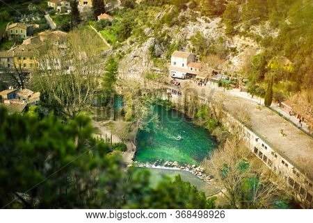 Panoramic View Of Medieval Roofs In Provence, France, In Spring. Top View Of One Of The Most Beautif