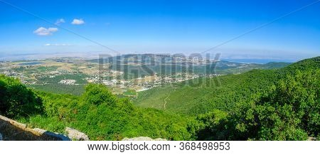 Panoramic Landscape From Mount Meron In The Upper Galilee, With The Sea Of Galilee. Northern Israel