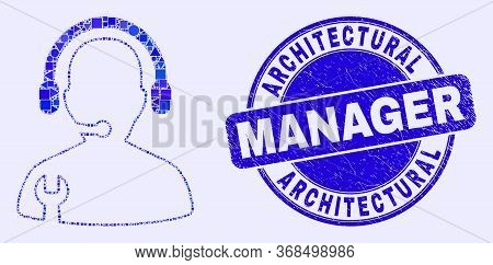 Geometric Service Operator Mosaic Pictogram And Architectural Manager Seal Stamp. Blue Vector Round