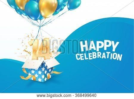 Celebrating Of 14 Th Years Birthday Vector Illustration. Fourteen Anniversary Celebration. Teenage B