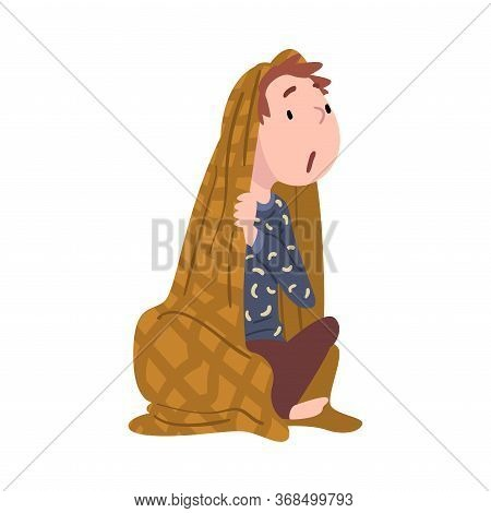 Cute Boy Sitting Under Blanket, Adorable Curiosity Child Character Cartoon Style Vector Illustration