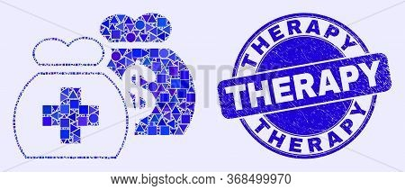 Geometric Medical Funds Mosaic Icon And Therapy Watermark. Blue Vector Rounded Grunge Watermark With