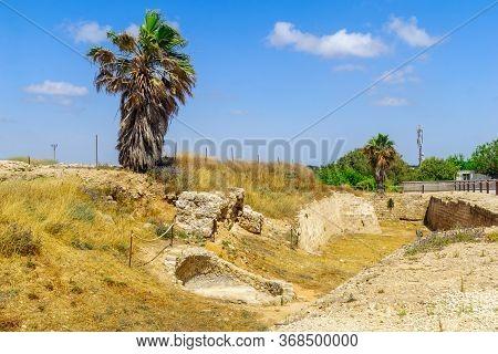 View Of The City Moat (crusader Era), In Apollonia National Park (tel Arsuf), Herzliya, Israel