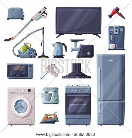 Household Appliances Set, Toaster, Vacuum Cleaner, Television, Hair Dryer, Coffee Machine, Microwave
