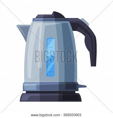 Stainless Electric Kettle, Household Kitchen Appliance Flat Style Vector Illustration On White Backg