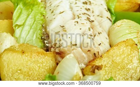 Sizzling Cod, Baked Fish Fillet With Potatoes  Peppers