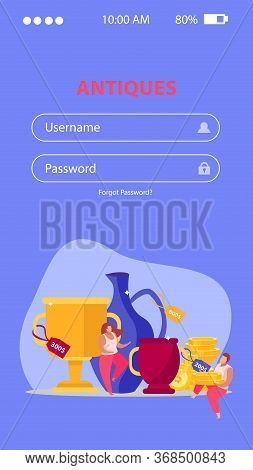 Pawnshop Flat Vertical Background With Fields For Typing Username And Password With Doodle Images An