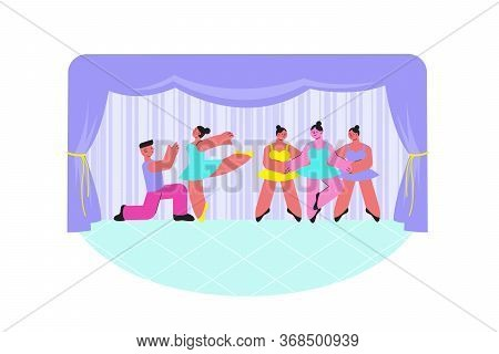 Ballet Performance Composition With Flat Characters Of Dancing People In Costumes Performing On Stag