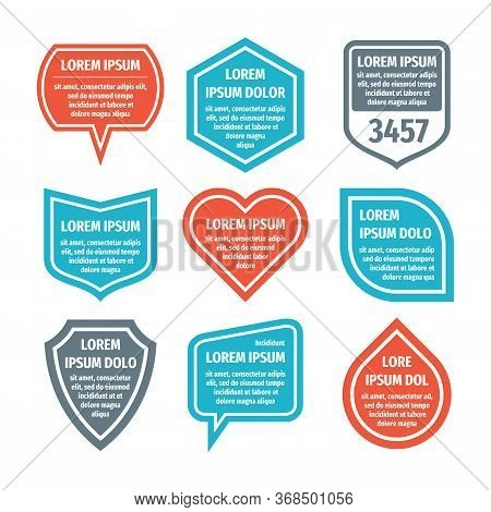 Banner Set Template For Text Visualization. Infographic Badge Typography. Visual Data Concept Collec