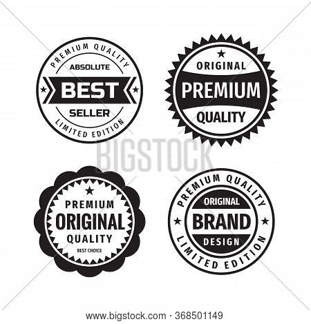 Design Graphic Badge Logo Vector Set In Retro Vintage Style. Absolute Best Seller, Original Premium
