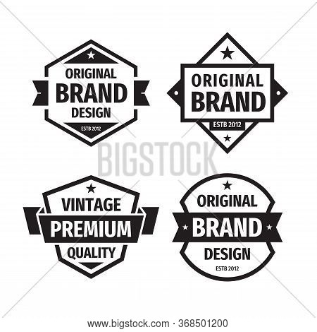 Design Graphic Badge Logo Vector Set In Retro Vintage Style. Original Brand Design, Vintage Premium