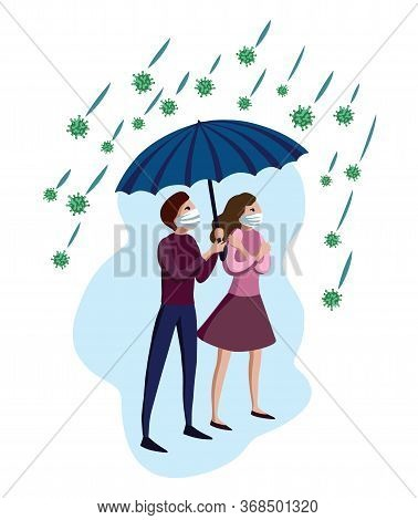 Man And Woman In Medical Masks Under Umbrella With Covid-19 Corona Virus Around. Concept For Defense