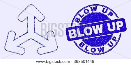 Geometric Expand Arrows Mosaic Pictogram And Blow Up Stamp. Blue Vector Round Distress Seal Stamp Wi