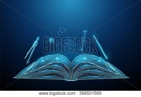 Abstract Open Schoolbook With Icons Of School Subjects