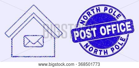 Geometric Post Office Mosaic Pictogram And North Pole Post Office Seal Stamp. Blue Vector Round Text