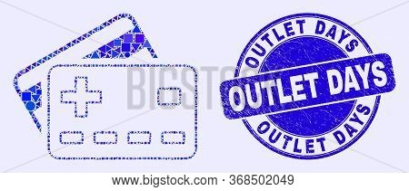 Geometric Plus Bank Cards Mosaic Pictogram And Outlet Days Seal Stamp. Blue Vector Rounded Grunge Se