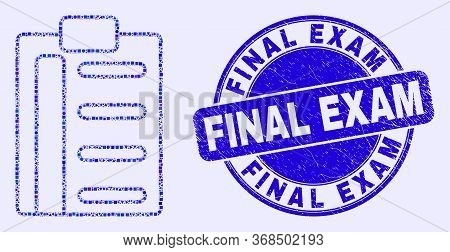 Geometric Pad List Items Mosaic Icon And Final Exam Seal Stamp. Blue Vector Rounded Scratched Stamp
