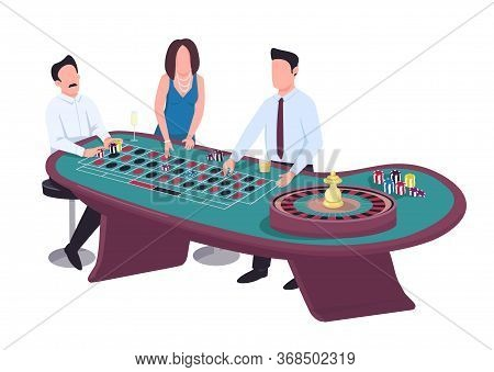 Gambler Flat Color Vector Faceless Characters. Man Put Bet On Red. Woman Stake On Black. Male Gamble