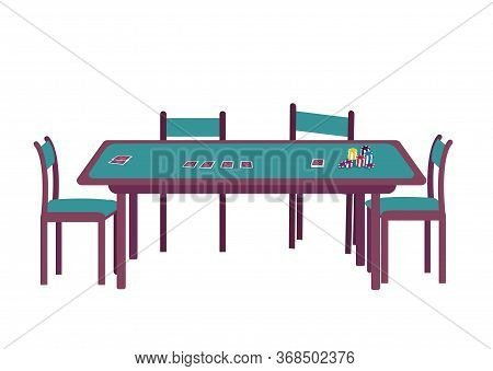 Casino Cartoon Vector Illustration. Blackjack Game Of Chance. Deal Deck Of Cards. Stack Of Chips. Gr