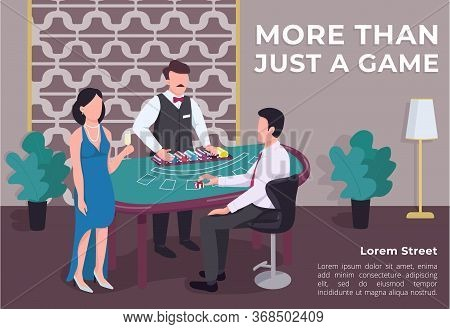 More Than Just A Game Poster Flat Vector Template. Man And Woman Near Blackjack Table. Croupier Coun