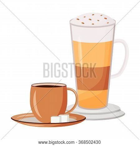 Coffee Cartoon Vector Illustration. Layered Caffeine Drink. Caramel Macchiato With Whipped Cream. Bl