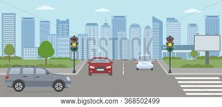 Crossroads With Cars And Traffic Lights. Modern City Life Illustration.  Panoramic View. Flat Style,
