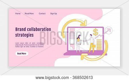Brand Collaboration Strategies Landing Page Flat Silhouette Vector Template. Affiliate Marketing Hom